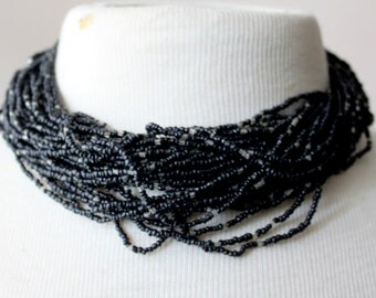 Vintage Necklace Black STATEMENT Seed Bead Chunky Artsy