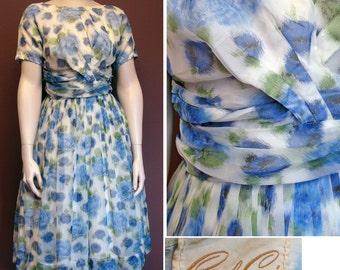 1950s Vintage Blue Roses Organza Print Dress SZ S