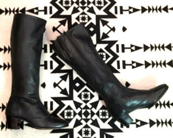 Vintage Riding Boots Tall Boots Black Leather Riding Boots Womens Riding Boots Size 6 Shoes High Heeled Boots Black Leather Boots