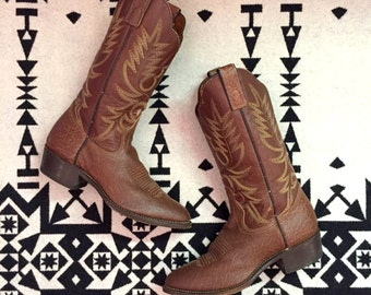 Vintage Brown Cowboy Boots Leather Boots Womens Cowboy Boots Size 9 Southwestern Boots Texas Made Boots Stitched Cowgirl Boots Western Boots