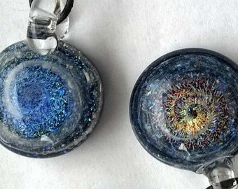 Cremation memorial for pet ashes glass jewelry handmade to order necklace  pendant by crisanti glass art