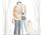 Custom Cartoon Portrait Couple (Cute soft style) - Wedding portrait gift, Custom portrait illustration, Custom Portrait Couple, pet portrait