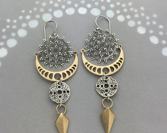 Mandala Phases of the Moon Ancient Amulet and Geometric Spike Earrings