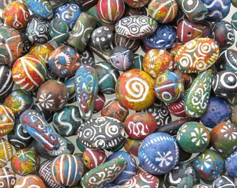26mm to 10mm Assorted Shapes and Sizes Color Mixed Clay Beads 100 Grams (AS30)