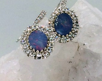 Opal Dangle Earrings, Australian Black Opal Earrings,  Lightning Ridge Opal, October Birthstone Diamond Look Handmade Weddin