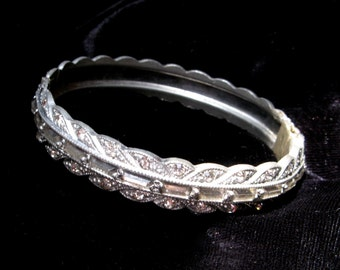 VINTAGE Art DECO Rhinestone BRACELET Pot Metal French Paste Clamper Bangle Old Jewelry Restored