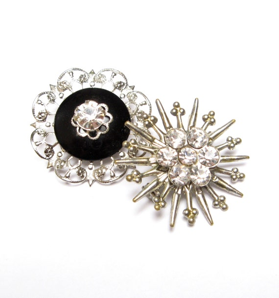 Vintage RHINESTONE Pins STARBURST Brooch Scatter Snowflake Small Jet Black Crystal Old Costume Jewelry 1940s Lot