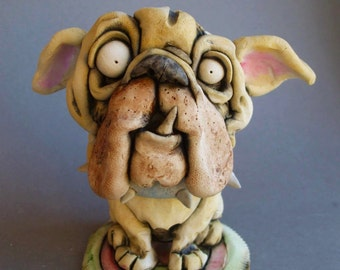 English Bulldog Sitting in Rug Ceramic Wall or Tabletop Sculpture