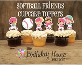 Softball Friends Party- Set of 12 Assorted Softball Player Cupcake Toppers by The Birthday House