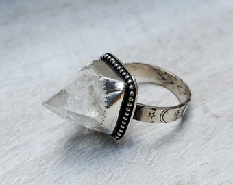 Apophyllite Crystal Point and Sterling Silver Ring size 8.25