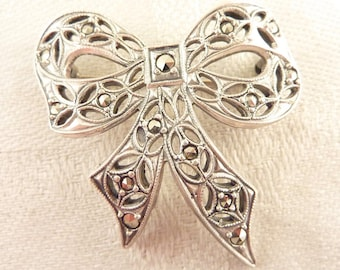 Vintage Openwork Sterling and Marcasite Deco Bow Brooch