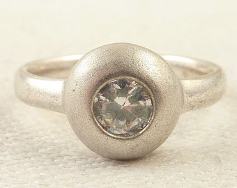 Size 6 Vintage Brushed Sterling Round Cubic Zirconia Ring