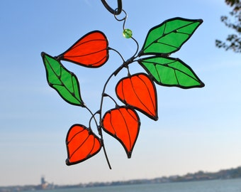 Chinese Lantern Flower Stained Glass Suncatcher