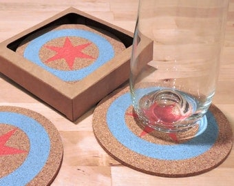 Chicago Flag Coasters- Set of 4