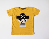boys pirate tee, baby and toddler pirate shirt, Pepe the Pirate t-shirt, modern boys' clothes, hip pirate shirt