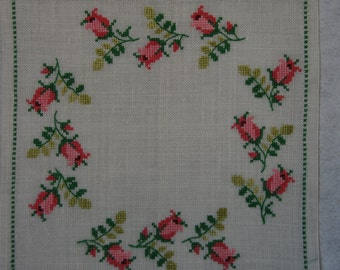 Vintage Cross Stitch Square Pillow Top Roses