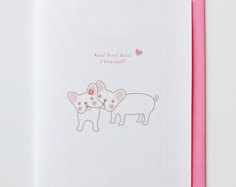 French Bulldogs Kissing - Anniversary Card, Valentine Card, I Love You Card, Funny, Unique, French Bulldog, Cute, Kawaii, Dog, Animal Card