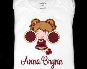Custom Personalized Applique CHEERLEADER and NAME Bodysuit or Shirt - Maroon and Tan Gold - Or Choose Your Team Colors