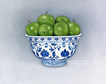 Still Life - Bright Green Apples in Ming Bowl . . . . .16x20 Original OIL Painting by LARA Chinoiserie Asian