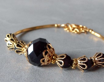 Black and Gold Bracelet Black Crystal Bridesmaid Jewelry Delicate Beaded Wedding Party Jewelry Adjustable Length Maid of Honor Gift Handmade