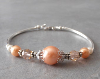 Peach Wedding Jewelry Peach Pearl Bridesmaid Bracelet Pastel Wedding Sets Bridal Party Jewelry  Delicate Pearl Bracelet Bridesmaid Gift