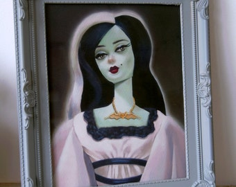 Frame AND Print vintage barbie / lily munster retro spooky!
