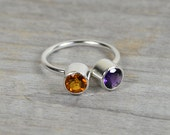 Amethyst And Citrine Ring Set In Sterling Silver, Friendship Duo Birthstone Ring, Handmade In England