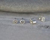 Rough Diamond Earring Studs Handmade In England