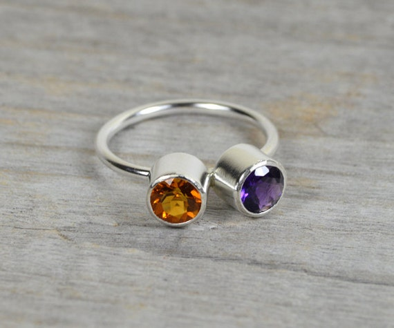 amethyst and citrine ring set in sterling silver, duo gemstone ring handmade in England