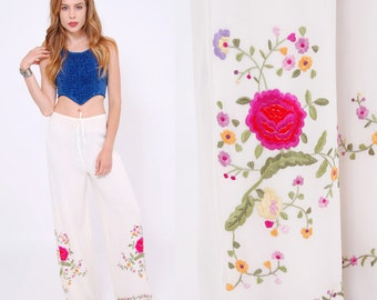 Vintage 90s EMBROIDERED Pants White FLORAL Pants Boho Pants Summer Drawstring Pants Casual Fit Trouser