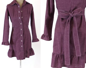 Vintage 70s XS belted dress Country Junior // xxs extra small purple button up ruffle hem Mod 70s 1970s 60s