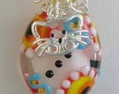 Handmade Smiling CAT Necklace, Lampwork Glass Pendant, Cat Lover, Gift for Her