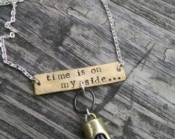 Time is on my side hourglass pendant necklace rolling stones gathers no moss