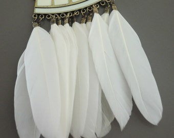 Tribal Feather Pendant - Necklace Component - Statement Feather Pendant - White Feathers - DIY Necklace - Jewelry Supply