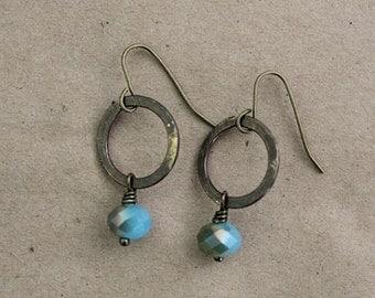 Boho Jewelry, Brass Metal Earrings, Bohemian Jewelry, Vintaj Jewelry, Made to Order, Statement Earrings, Blue Earrings