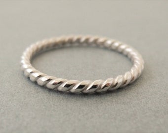 Twist Ring Sterling Silver coil Pattern Ring sterling silver stacking rings