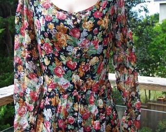Floral Dress, Sheer floral dress, 80s dress, long sleeve floral, 80s floral dress, size M / L