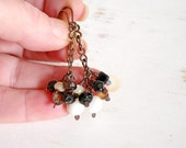 Mother of Pearl Chain Drop Earrings, Black Agate Earrings, Copper Wire Jewelry, Patina Copper Earrings, Boho Dangle Earrings