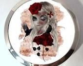 Compact Mirror - Silver Tone pocket Mirror - Wild Rose