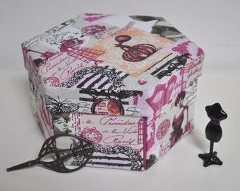 Hexagonal Sewing Box - Hand Made Fabric Covered Cartonnage - La Parfumerie