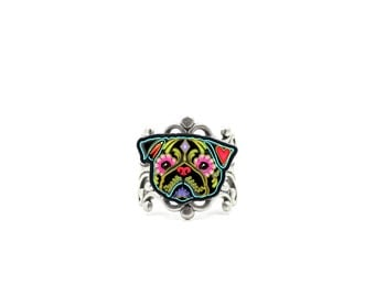 SALE Regularily 14.95 - Pug in Black Ring - Day of the Dead Sugar Skull Dog Adjustable Ring