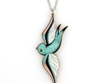 SALE Regularly 19.95 - Morning Dew Swallow Necklace - Soaring Mint Green Spotted Bird Pendant