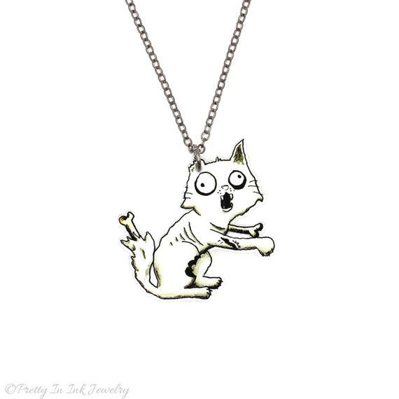 SALE Regularily 19.95 - Zombie Kitty Necklace - Now with Zombie Cat Butt