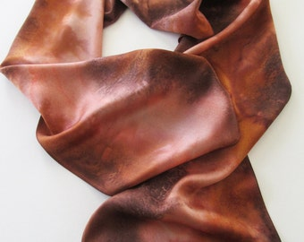 Brown Silk Scarf, Hand Painted Brown Silk Scarf, Cinnamon Brown Silk Scarf, Brown Scarf, Peach Silk Scarf, Gift For Her