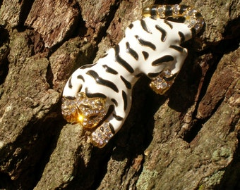 White Bengal Tiger Brooch Pin Enameled Black and White Gold Paint Rhinestones