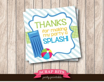 Instant Download . Printable Pool Party Splash Tags . Summer Party Thank You Favor Tags