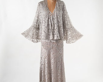 Vintage 1920s Lace Gown Set, 20s Silver Gray Lace Dress & Jacket, Flutter Sleeves, XL Plus, Bridal Wedding Dress, Women's Clothing, Dresses