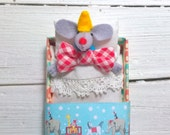Circus clown Carnival company party red nose felt miniature mouse in matchbox red yellow blue tiny animal white red bow tie yellow hat