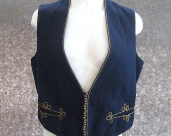 Antique 1910's Vintage Waistcoat Edwardian Vest, Metallic Braid, Brass Acorn Faux Buttons, Back Buckle, Navy Blue Wool, Hook Front, Chest 38