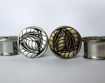 """Pair of Antique Brass or Silver Leaf Plugs - Handmade Girly Gauges - 9/16"""", 5/8"""", 3/4"""", 7/8"""" (14mm, 16mm, 19mm, 22mm)"""